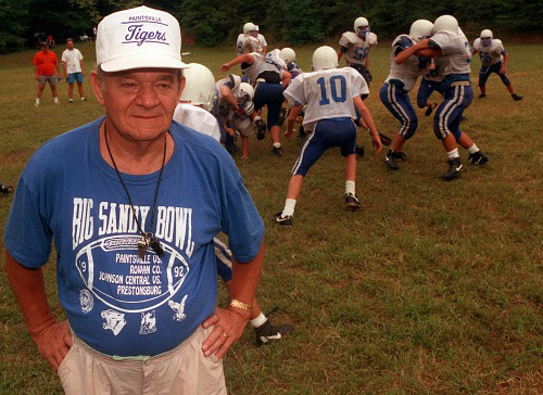 Coach Walter Brugh, coach of the Paintsville (Ky) Tigers, for 44 years.