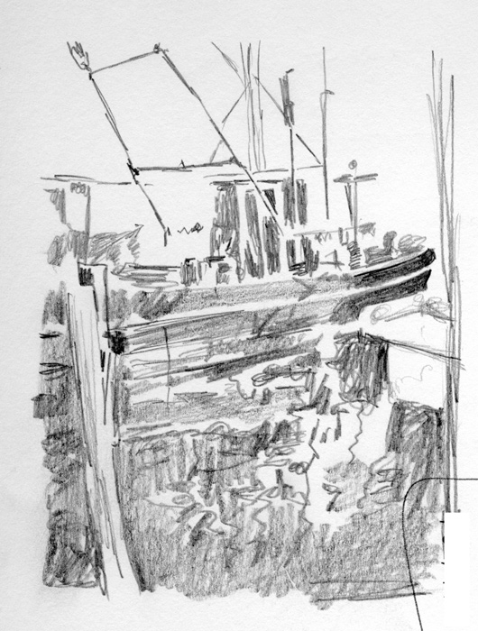 Red Reflection. I know, where's the red? Well, it is a rough sketch of an oil painting I plan to produce. The boat will have a red color scheme.