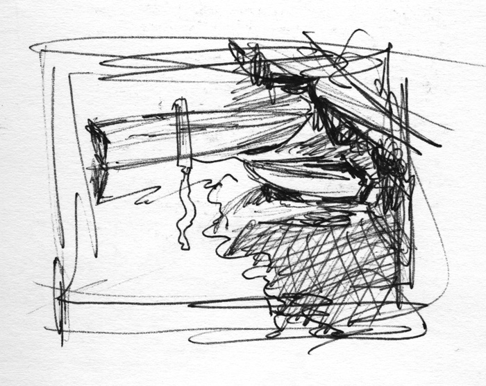 """Thumbnail sketch for my oil painting, """"Fishing Buddies."""""""