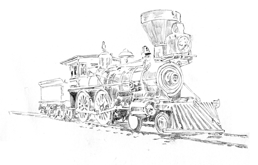 Michael Brugh's graphite pencil sketch of a 4-4-0 steam locomotive, circa 1860s.
