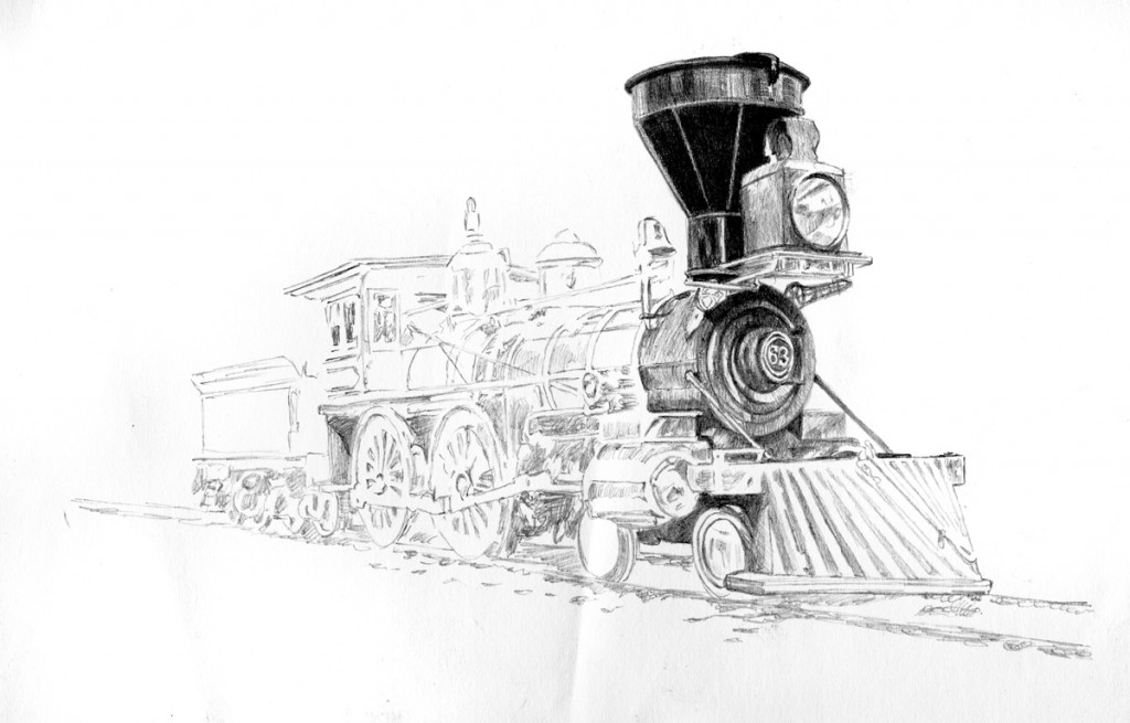 Artist Michael Brugh's pencil sketch of a 4-4-0 steam locomotive, circa 1860s. Update number 2 of a work in progress.