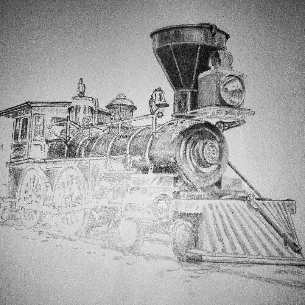 My third update of a drawing I am working on of an 1860s-era steam locomotive, 4-4-0 configuration. Michael Brugh, artist.