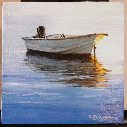 """Sunset Rest,"" 6x6, oil. Part of a series of seascape/waterfront paintings I am developing. Michael Brugh, artist."