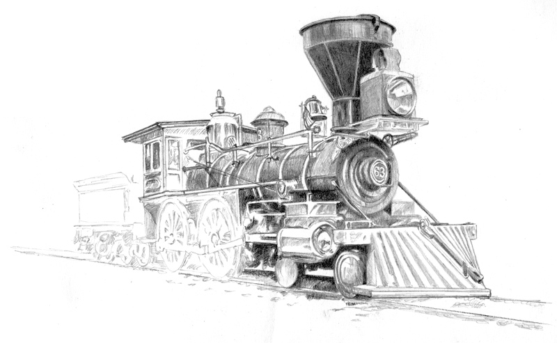 My fourth update of a drawing I am working on of an 1860s-era steam locomotive, 4-4-0 configuration. Michael Brugh, artist.
