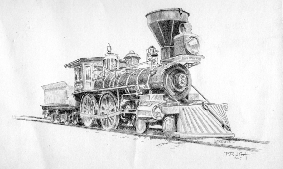 Michael Brugh artist. 1860s steam locomotive