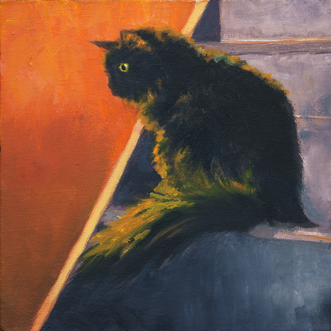 Blackie, 6x6, oil, Michael Brugh, artist, 2016