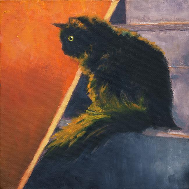 Blackie, 6x6, oil, Michael Brugh, artist, 2016