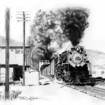 Day 11, Rail Rider, C-and-O Steam 2-8-4 locomotive, J. E. Landrum photo reference, artist Michael Brugh