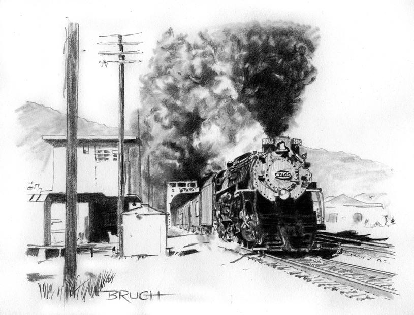 Day 11, Rail Rider, C-and-O Steam 2-8-4 locomotive, J. E. Landrum photo reference, artist Michael Brugh