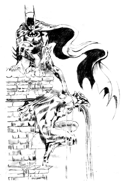 Day 13, A Drawing a Day-Batman Perch, after Mike Grell, graphite drawing by artist Michael Brugh