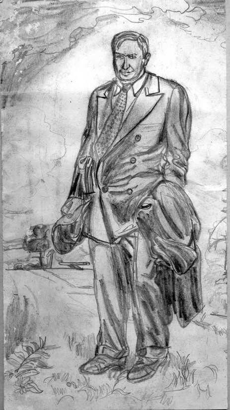 Day 14, A Drawing a Day, Will Rogers, after Oklahoma artist Charles Banks Wilson, graphite drawing, age 12, artist Michael Brugh