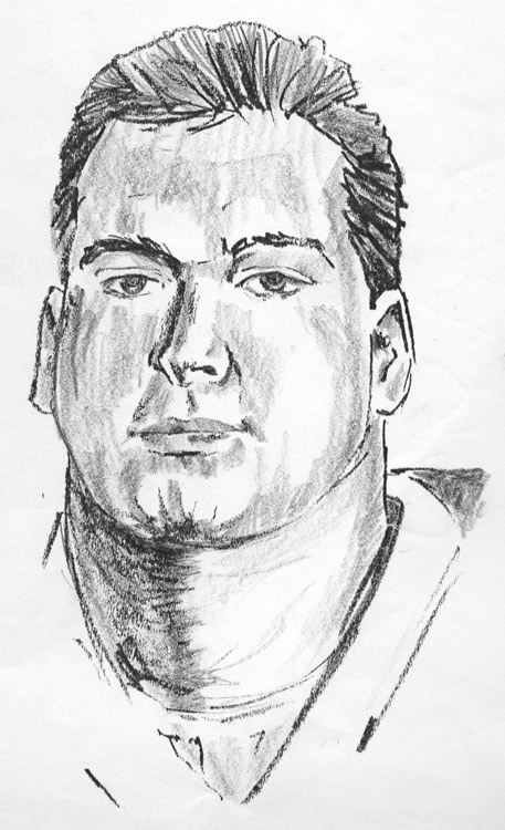 Day 15, A Drawing a Day, Notre Dame football player, graphite, artist Michael Brugh