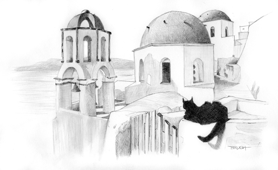 Day 4 - Black cat, Greek Isle, 365 Project, Graphite, Michael Brugh artist