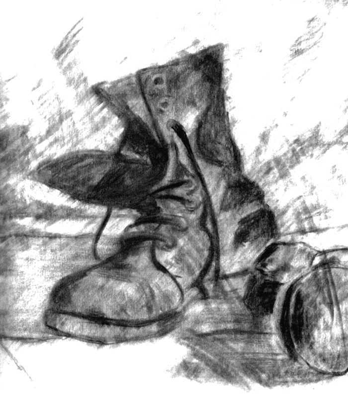 Day 6 - Comfy Boots, graphite, by artist Michael Brugh
