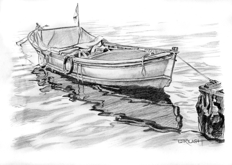 """Day 9, """"Lonely Reflection,"""" graphite drawing by artist Michael Brugh"""