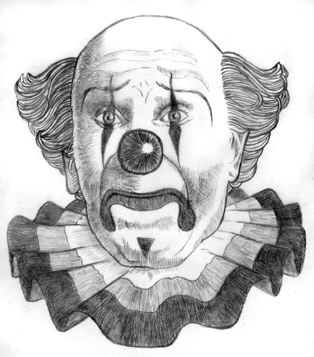 Day 17, A Drawing a Day, Sad Clown, graphite drawing by artist Michael Brugh