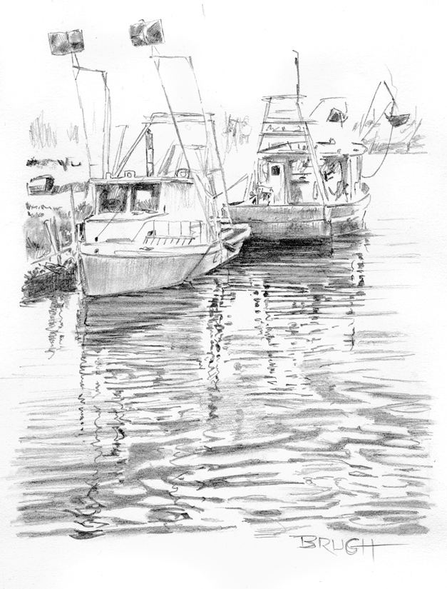 Day 20, A Drawing a Day, Bayou Buddies, graphite, artist Michael Brugh