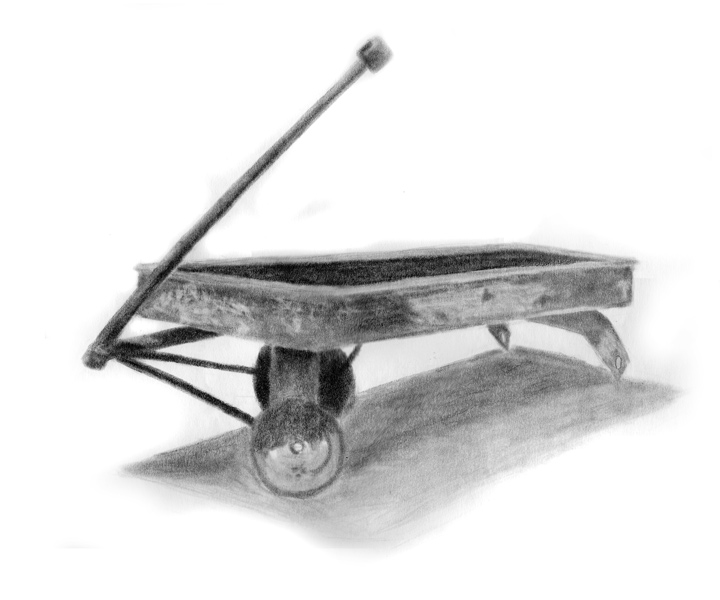 Day 22, A Drawing a Day, Wagon Memories, graphite, artist Michael Brugh