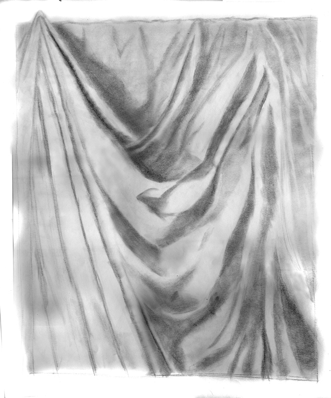 Day 24, A Drawing a Day, Folding Light, graphite, artist Michael Brugh