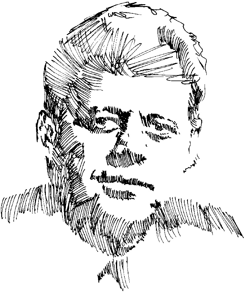 Day 26, A Drawing a Day, JFK, artist Michael Brugh