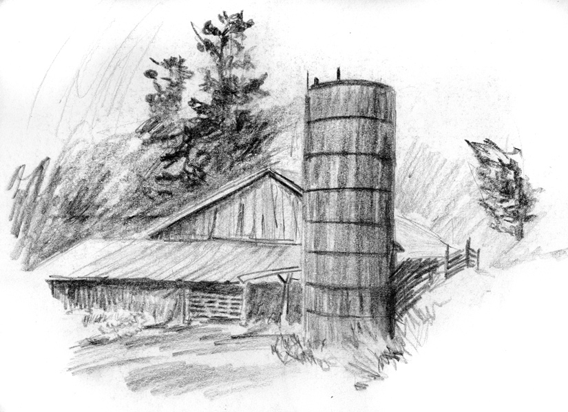 Day 27, A Drawing a Day, Barn and silo, graphite, artist Michael Brugh